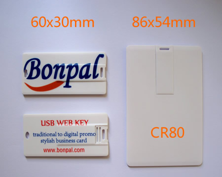 USB webkey in plastic card various size